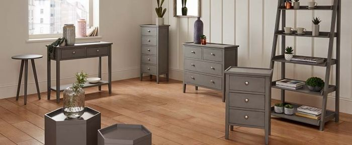Chiara Grey Pine 5 Drawer Tallboy