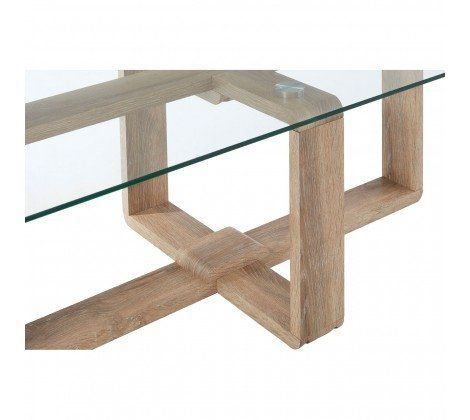 Chloe Glass and Brown Coffee Table