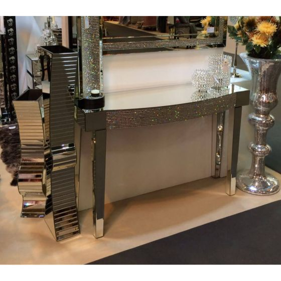 Clear Mirrored Diamond Effect Console Table