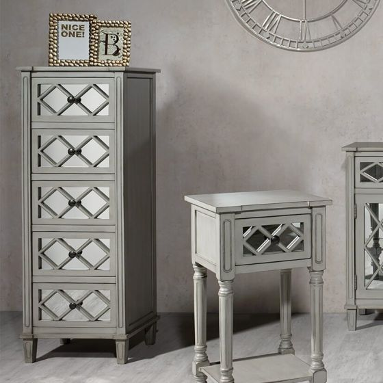 Clara Grey Mirrored 5 Drawer Tallboy
