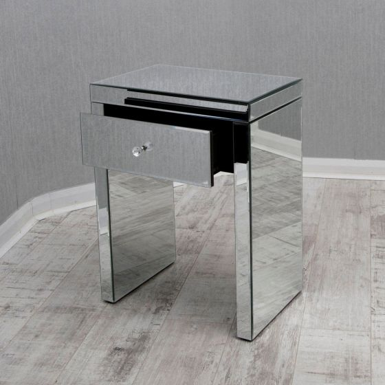 Clear Mirrored Bedside/LampTable with Single Drawer