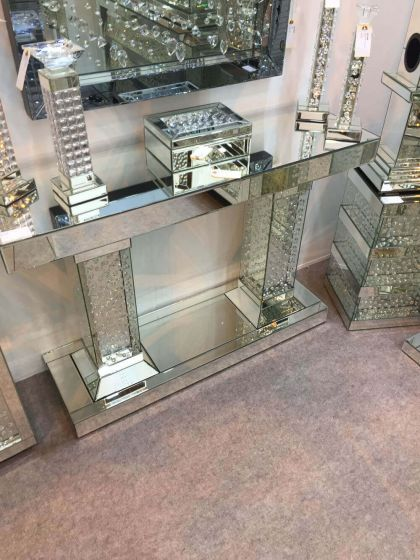 Clear Mirrored Roman Style Console Stand
