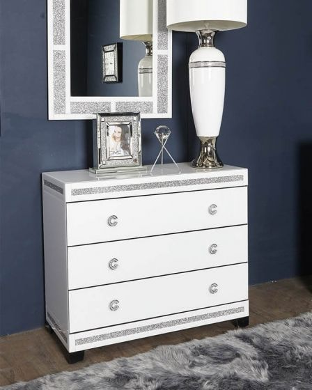 White Cleopatra Mirrored Chest of Drawers