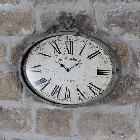 Colonial Clock Co Antique Oval Metal Wall Clock