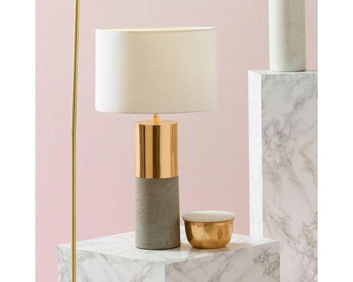 Copper Table Lamp With Half Concrete Base