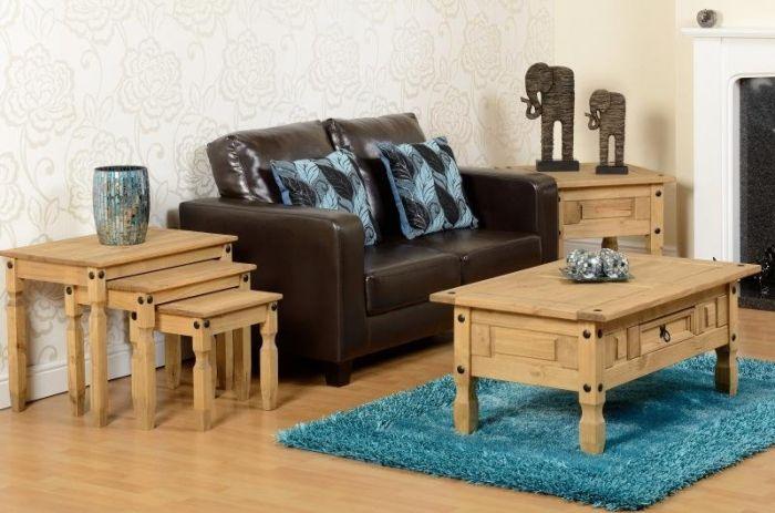 Corona Studded Pine 1 Drawer Coffee Table