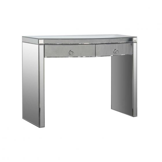 Curved Clear Mirrored Dressing Table
