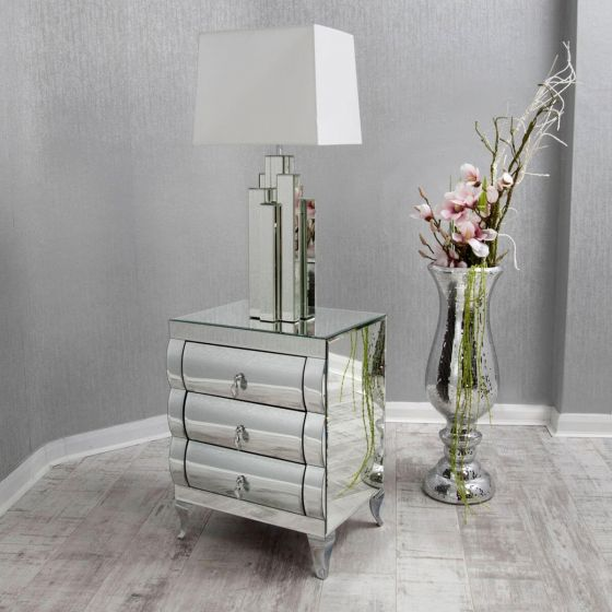 Curved Mirrored Bedside Table