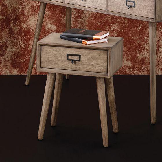 Desert Brown Pine Wood 1 Drawer Side Table