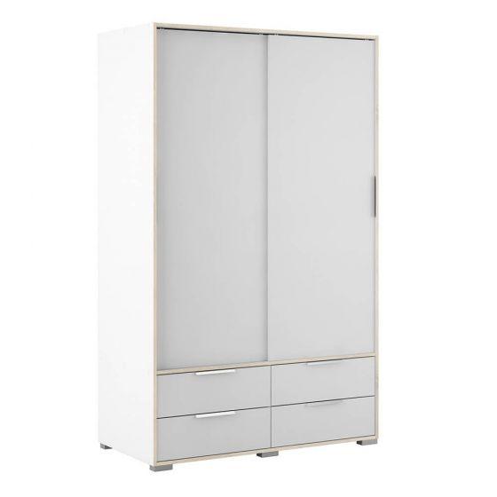 Design Line White and Oak Double Wardrobe