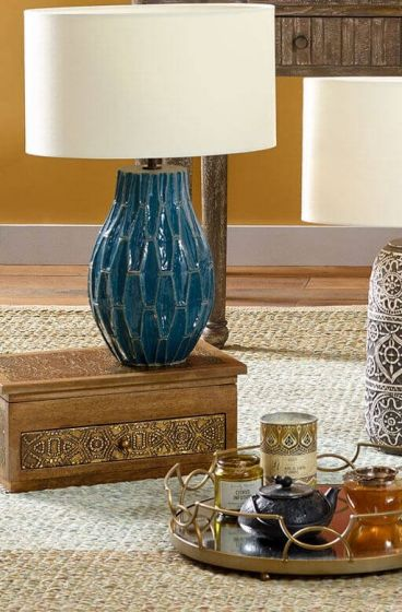 Distressed Geometric Table Lamps
