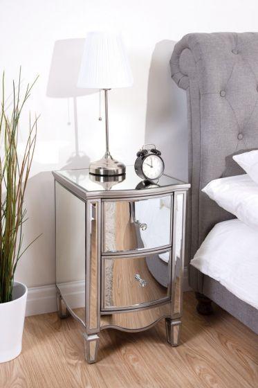 Elayna Mirrored Bedside Cabinet