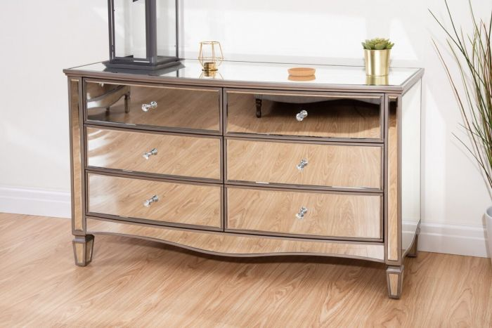 Elayna Mirrored Wide Chest of Drawers