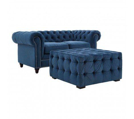 Ella 2 Seater Blue Velvet Sofa