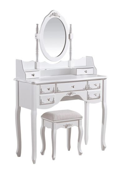 Ella French White 7 Drawer Dressing Table Set With Stool
