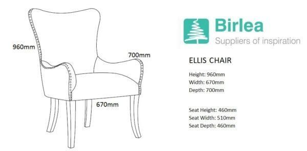 Ellie Fabric Chair in Green, Grey or Blue