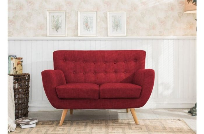 Fabric Scandinavian Style 2 Seater Sofa Red