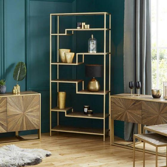 Forza Elm Wood and Iron Bookshelf