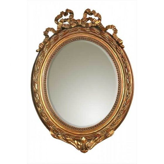 French Ribbon Oval Antique Gold Wall Mirror