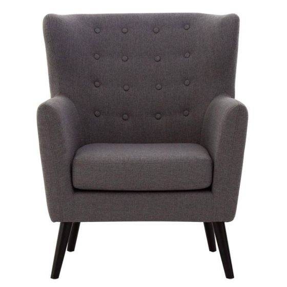 Funen Grey Fabric Armchair