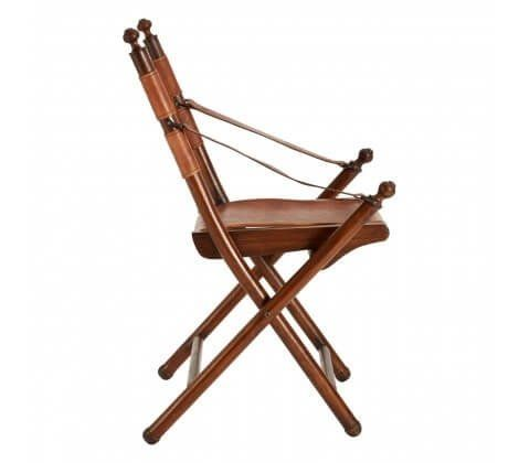 Genuine Brown Leather Folding Chair