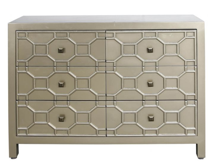 Gold Geometric Wood 6 Drawer Cabinet