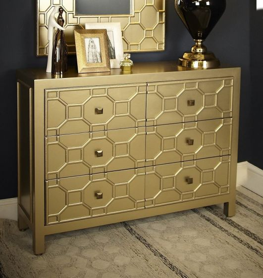 Gold Geometric Wood 4 Drawer TV Unit