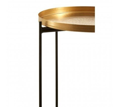 Gold Finish Iron Tray Side Table
