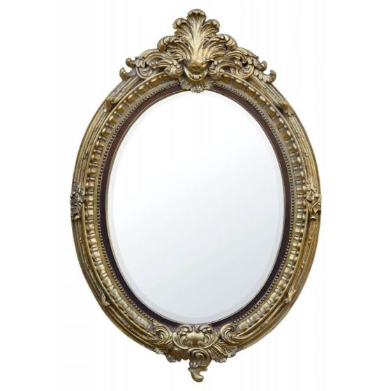 Gold Leaf and Brown Oval Wall Mirror