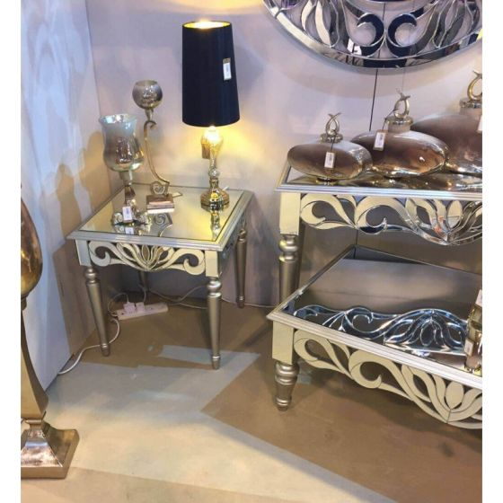 Greek Style Mirrored Console Table Silver Wood Trim