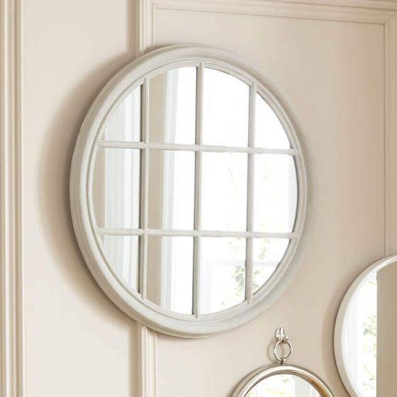 Grey Segment Wooden Round Wall Mirror