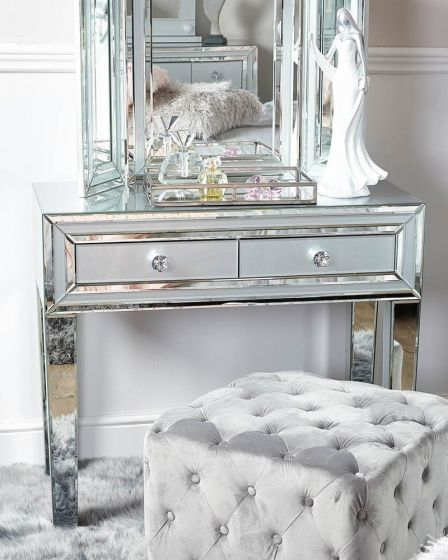 Grey Tinted Glass Console Table