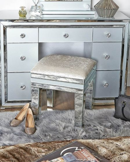 Grey Tinted Glass Stool With Soft Seat