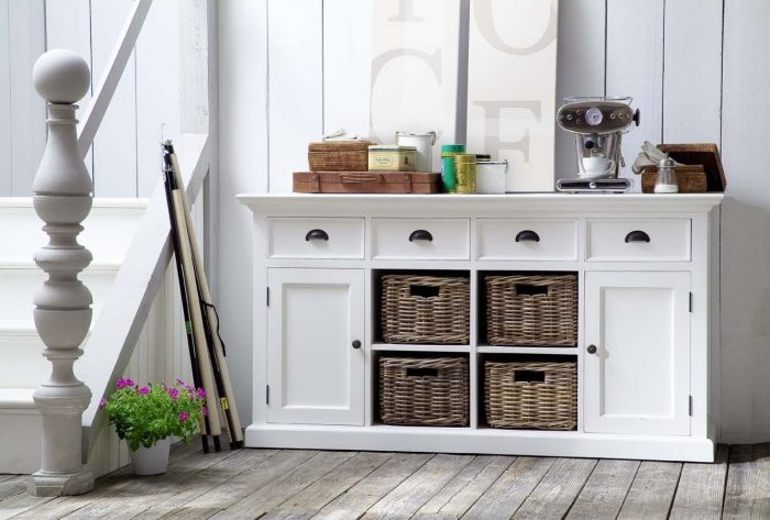 Halifax Sideboard With 4 Drawers and 4 Rattan Baskets