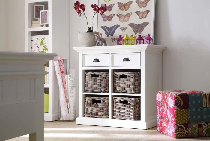 Halifax Small Sideboard With 4 Rattan Baskets