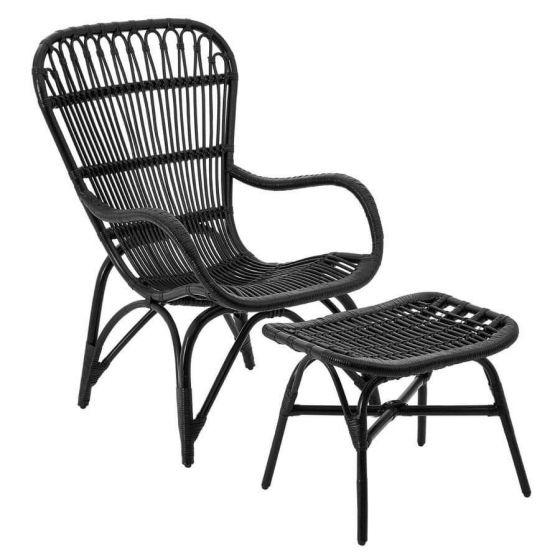 Hannah Rattan Relaxer Black Armchair With Stool