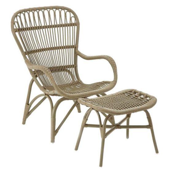 Hannah Rattan Relaxer Grey Armchair With Stool