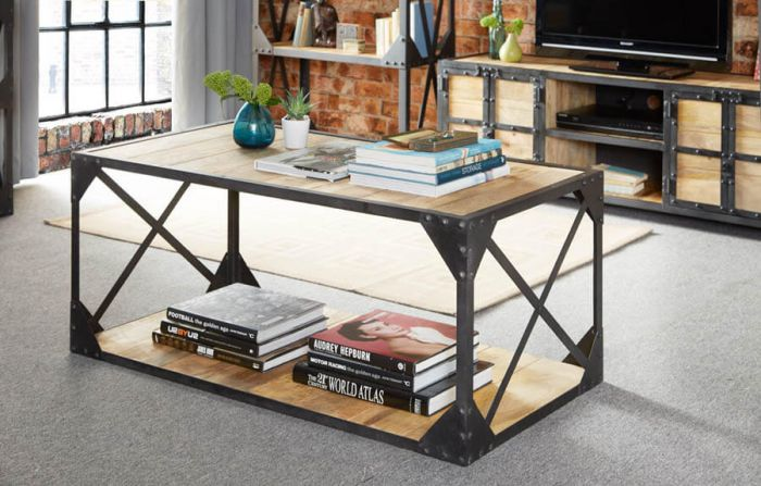 Industrial Solid Wood Coffee Table
