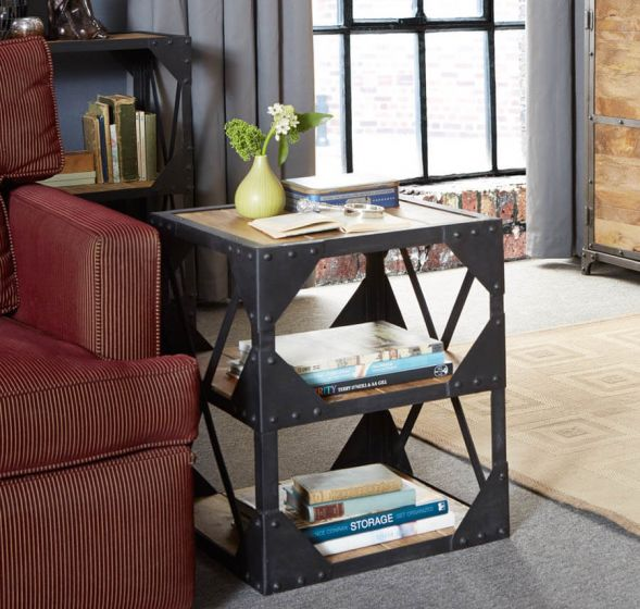 Industrial Solid Wood Side Table