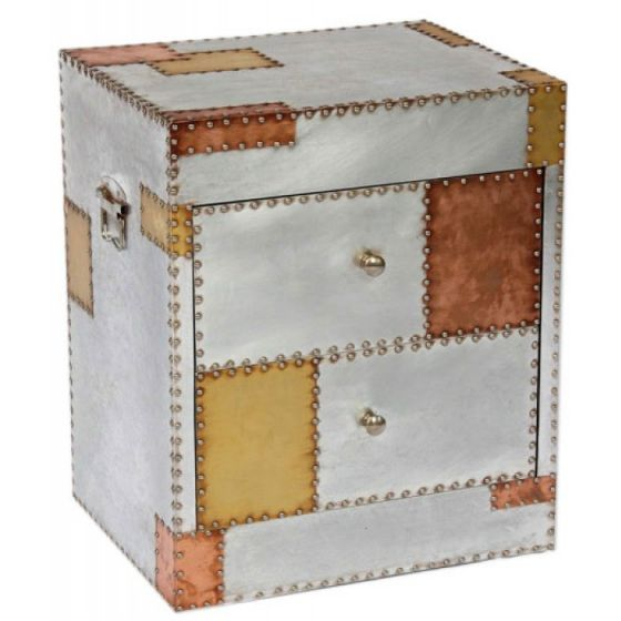 Russell Industrial Aluminium and Copper Bedside Chest