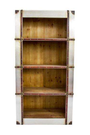 Industrial Aluminium Strapped Bookcase