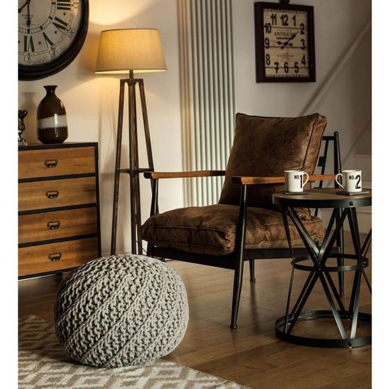 Industrial New Edition Leather Effect Walnut Chair