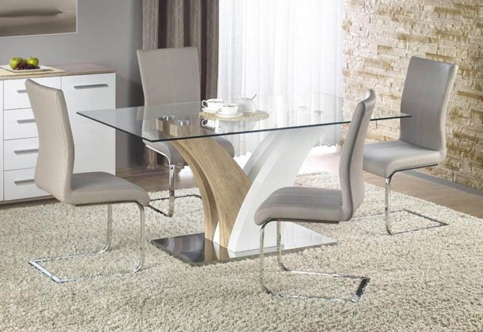 Lois Gloss Dining Set with 6 Grey Chairs