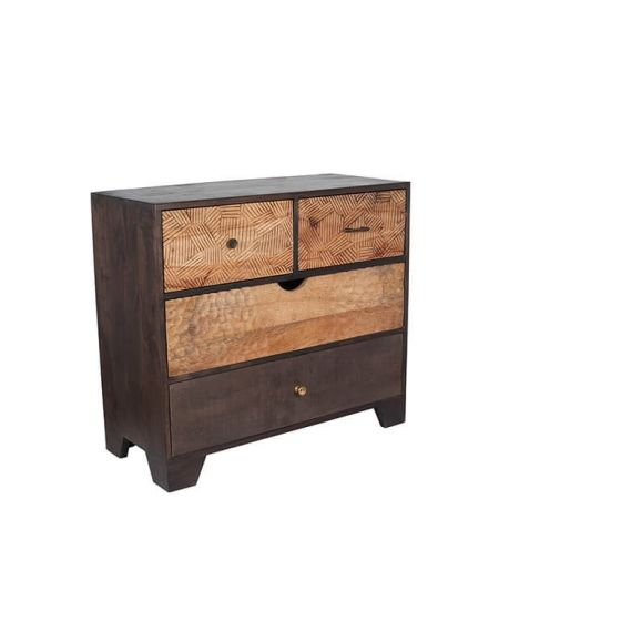 Ludovica Hand Carved Patterned 4 Drawer Chest