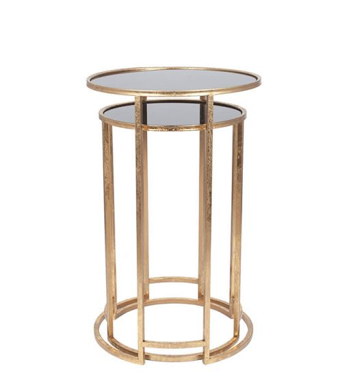 Marco Set of 2 Antique Gold and Black Glass Tables