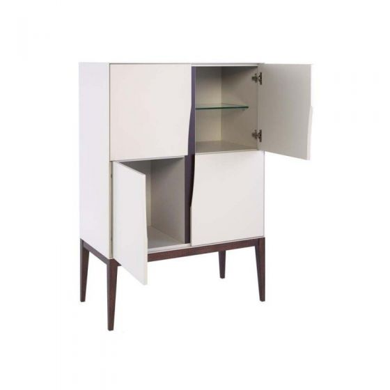 Matt White and Wood Tall Sideboard