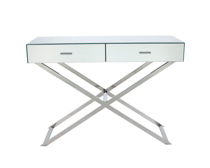 Mirrored Criss Cross Console Table
