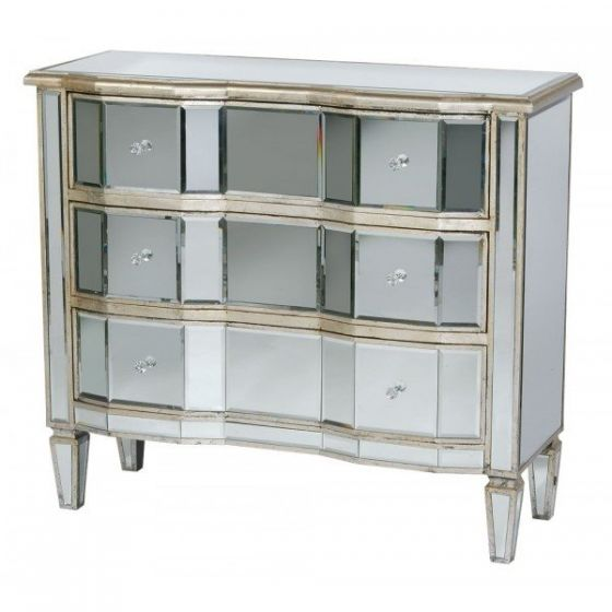 Mirrored Antique Curvy Front Silver Wooden Chest