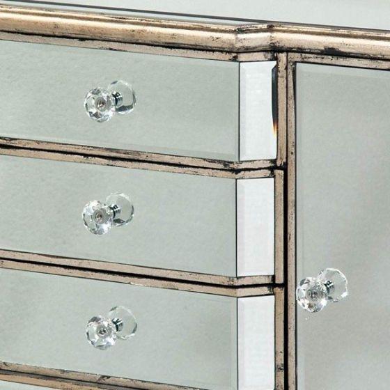 Mirrored Antique Venetian Sideboard 4 Drawer 2 Door