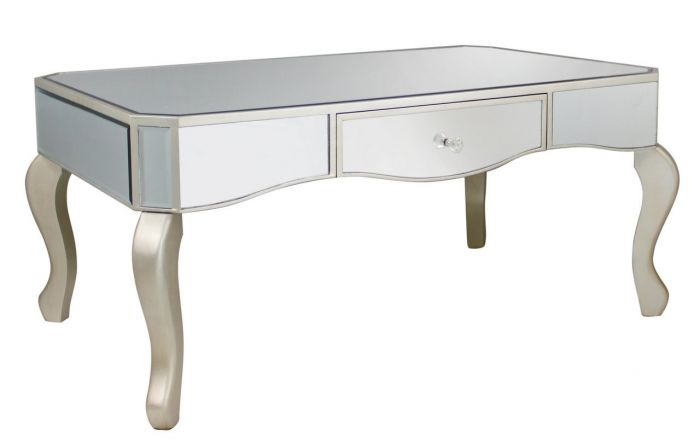 Mirrored Coffee Table with Champagne Trim
